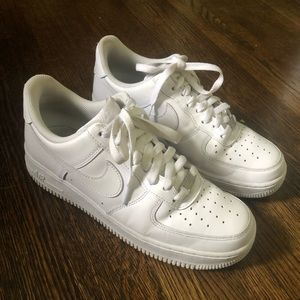 White Leather Air Force 1's